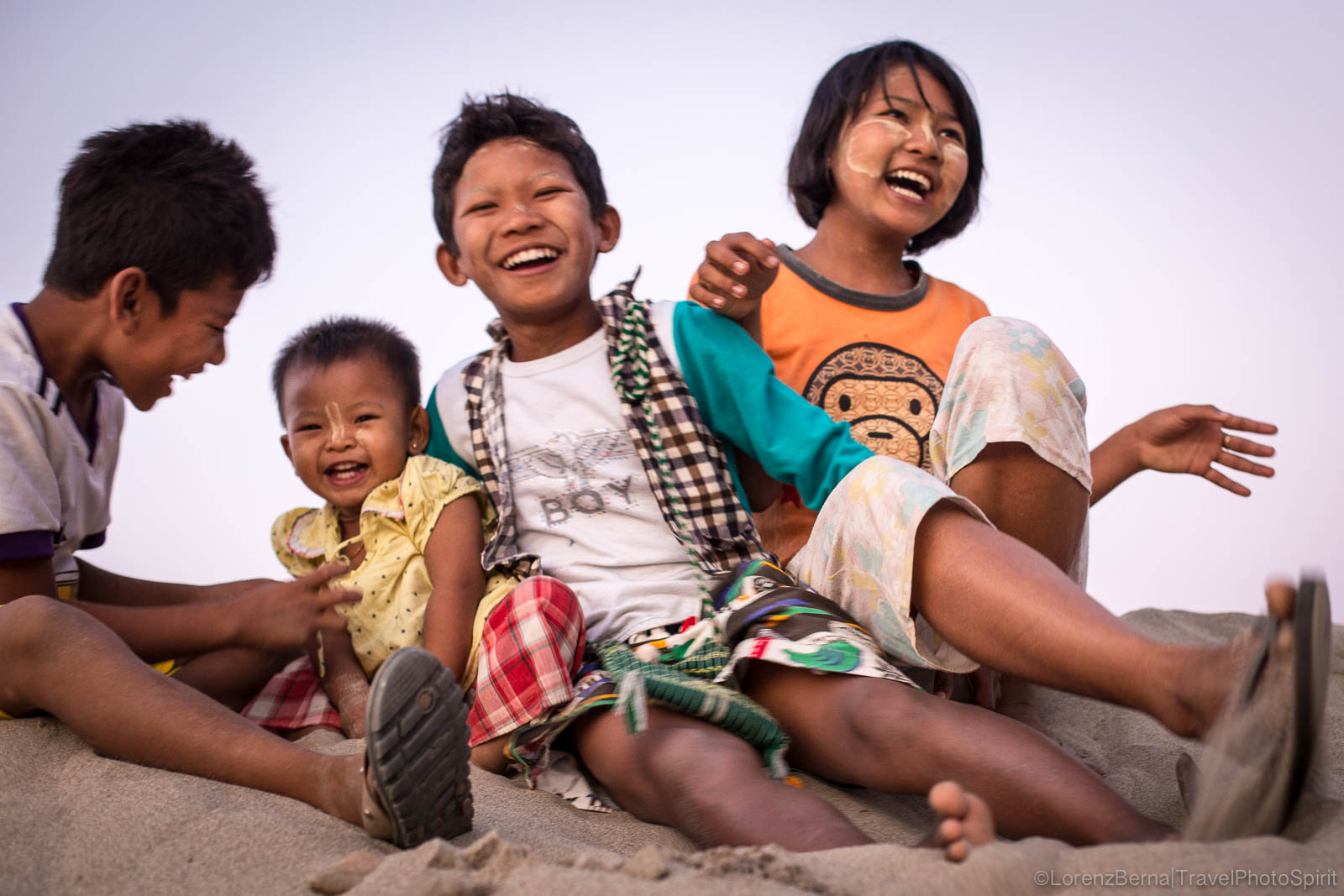 Burmese children laughing.