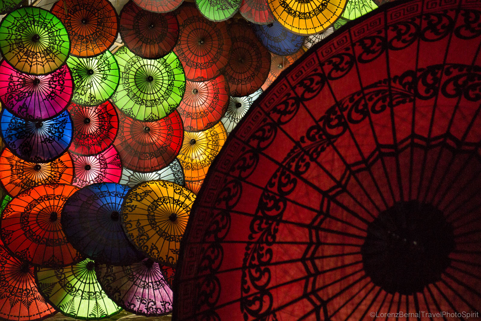 Myanmar traditional colourful umbrellas.