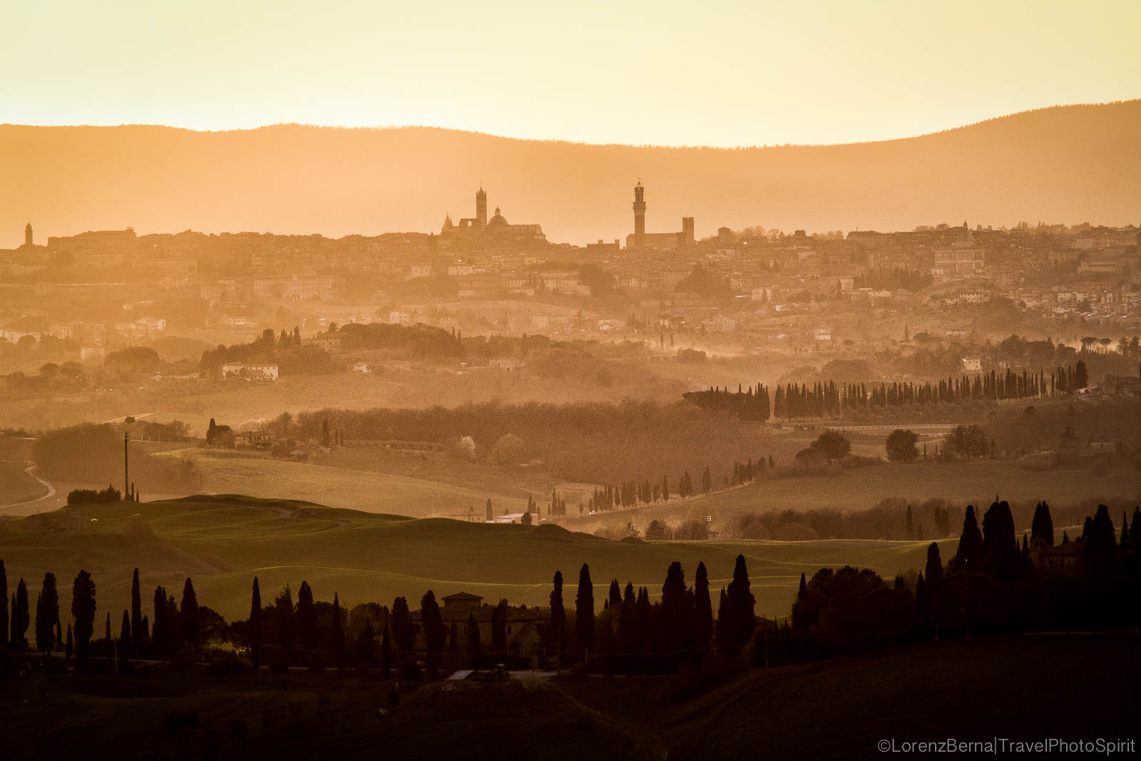 Hills layers of Siena City, Tuscany