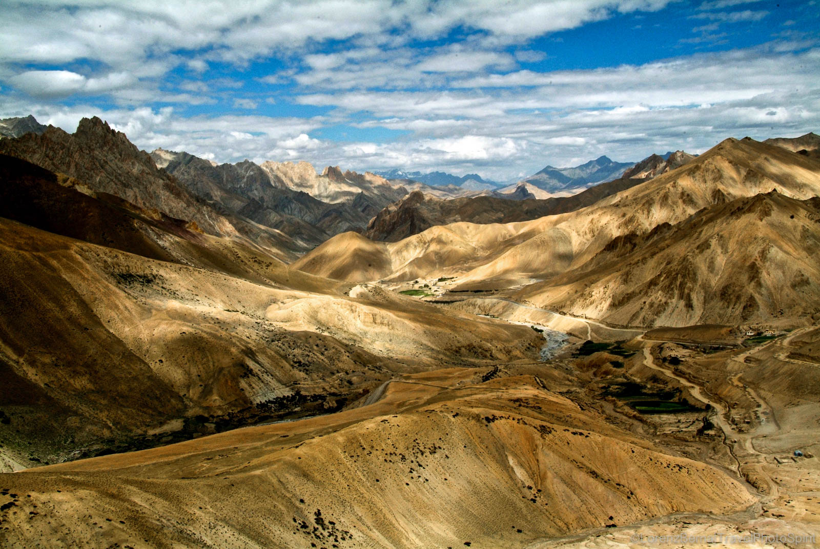 View on the desert peaks of the Himalayan Ladakh, India