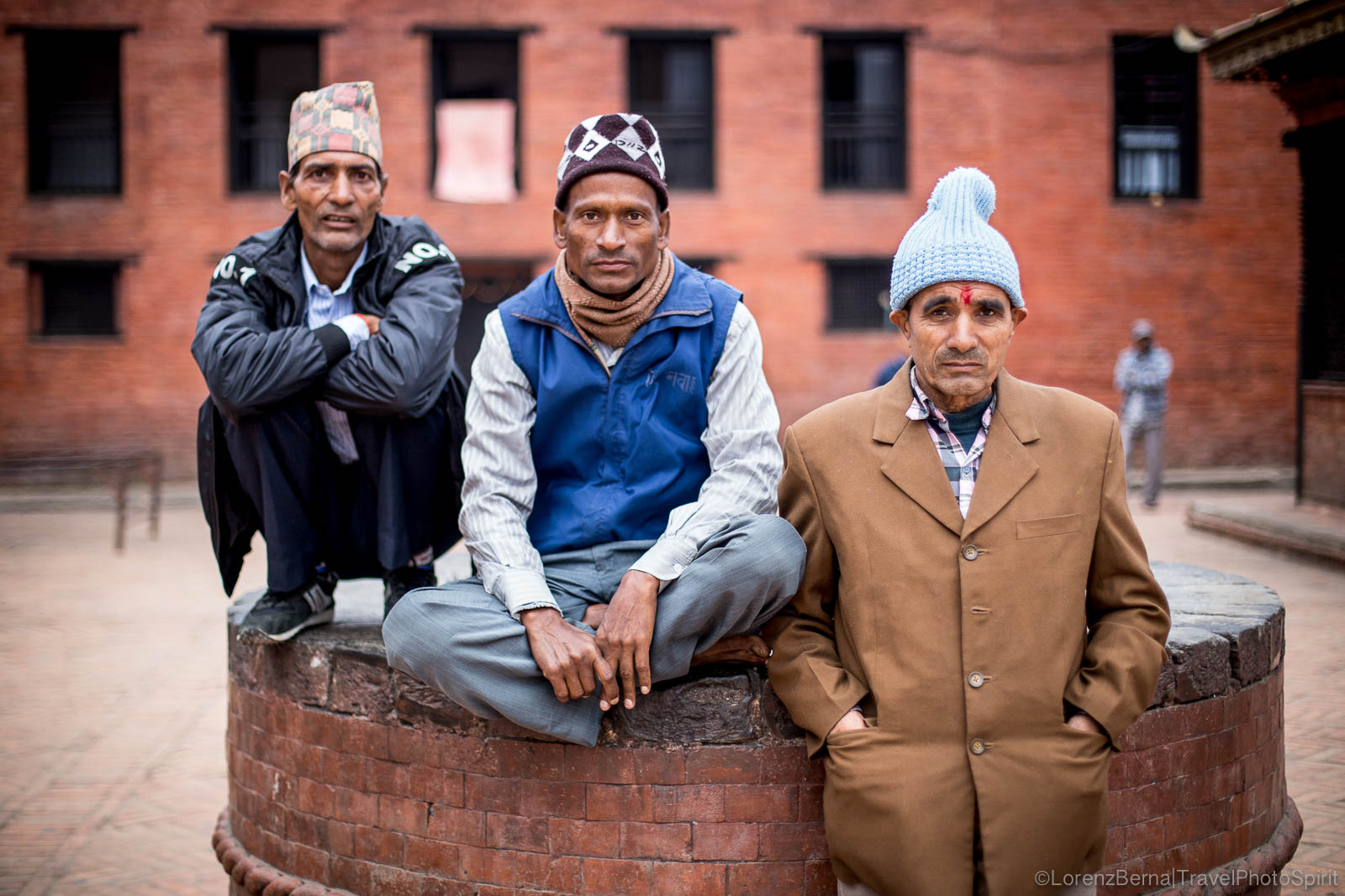 Travel portraits of Nepali men in Kathmandu Durbar square - Nepal Travel Photography by Lorenz Bera