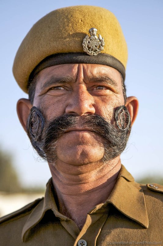 Indian police man with interesting moustaches from Jaipur in Rajasthan - A Lorenz Berna Photography of India