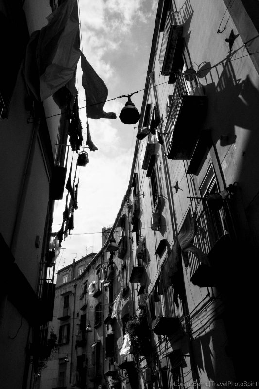 Within the narrow streets of the Spanish Quarter, Naples, Italy.