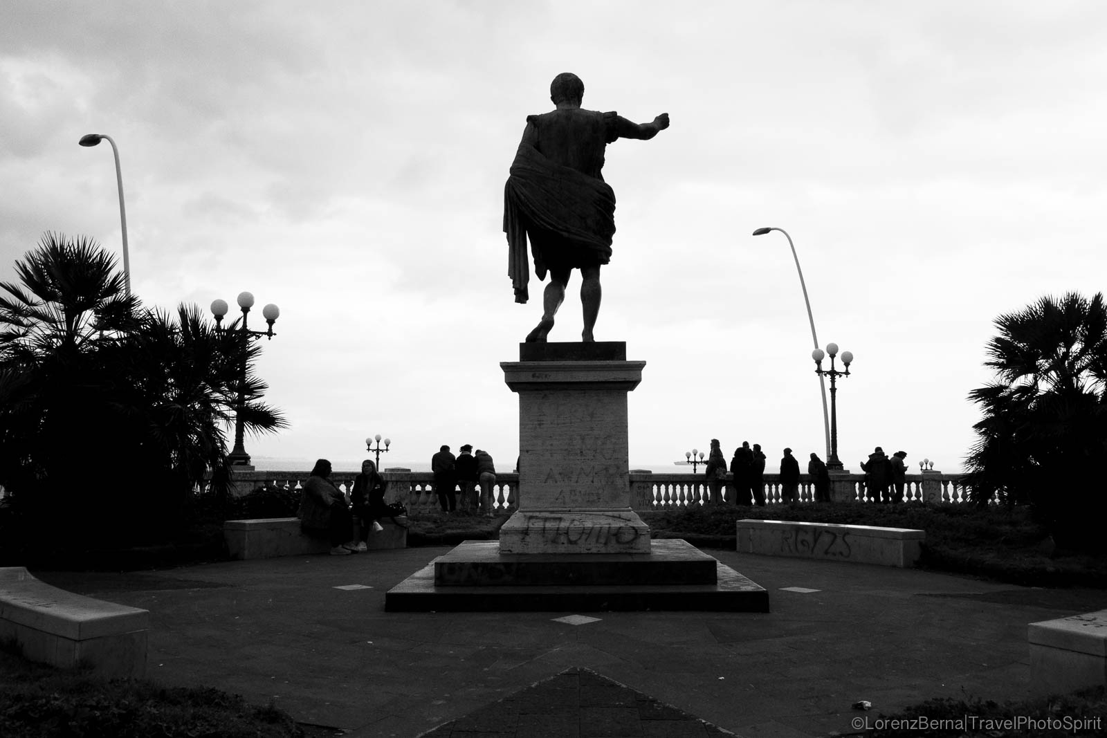 Statue of Imperator Ottaviano Augusto, in the Molosiglio Gardens, facing the gulf of Naples, Italy.