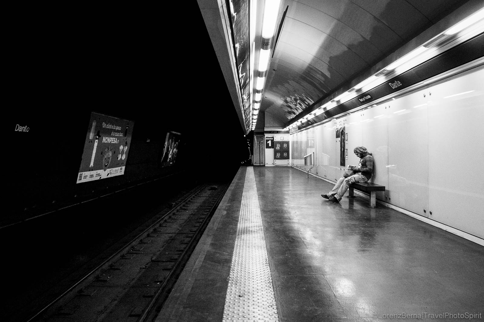 Street Photography in Naples Subway, Italy.