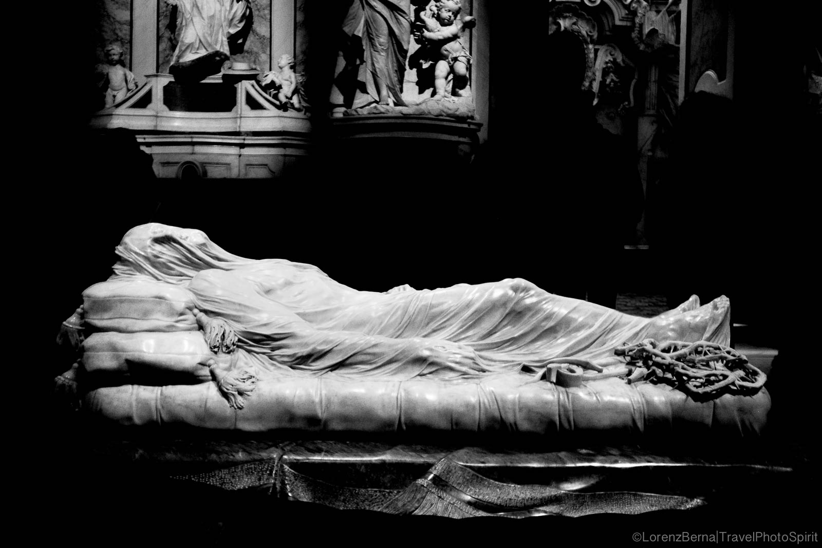 Veiled Christ, a 1753 marble sculpture by Giuseppe Sanmartino, in the Cappella Sansevero, Naples, Italy