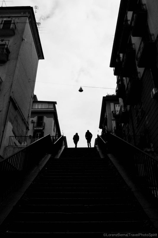 High stairs in Rione Sanità Quarter, Naples, Italy.