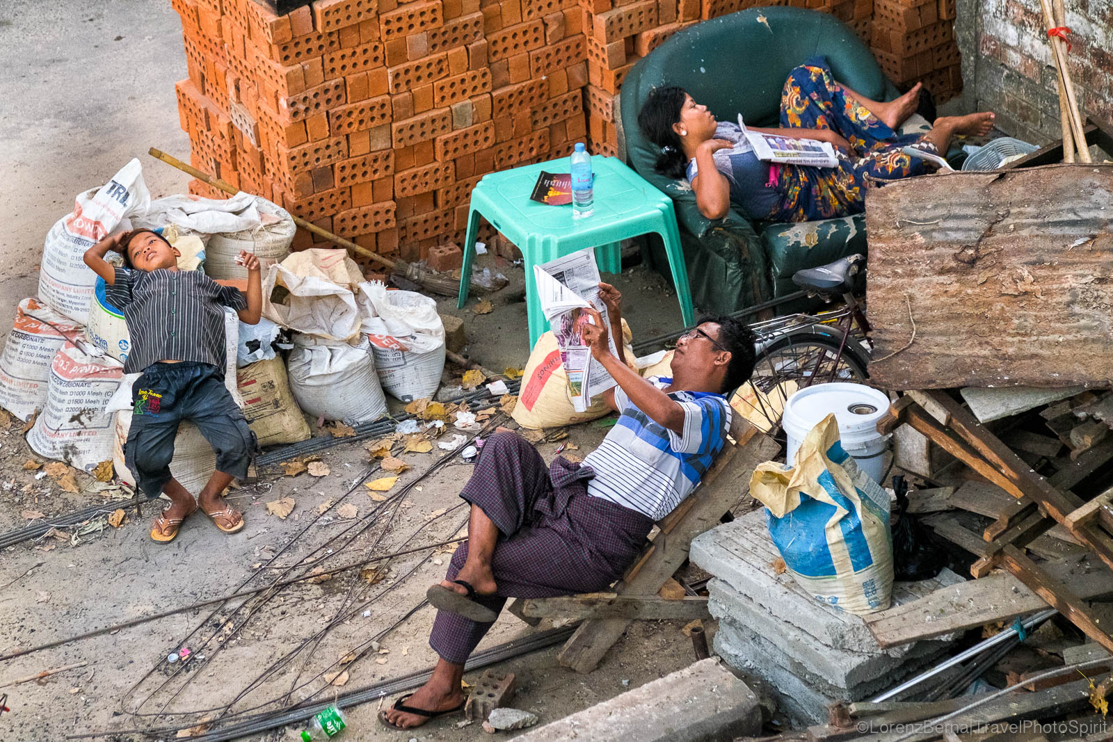 Family resting on Chaos, in Yangon, Myanmar.