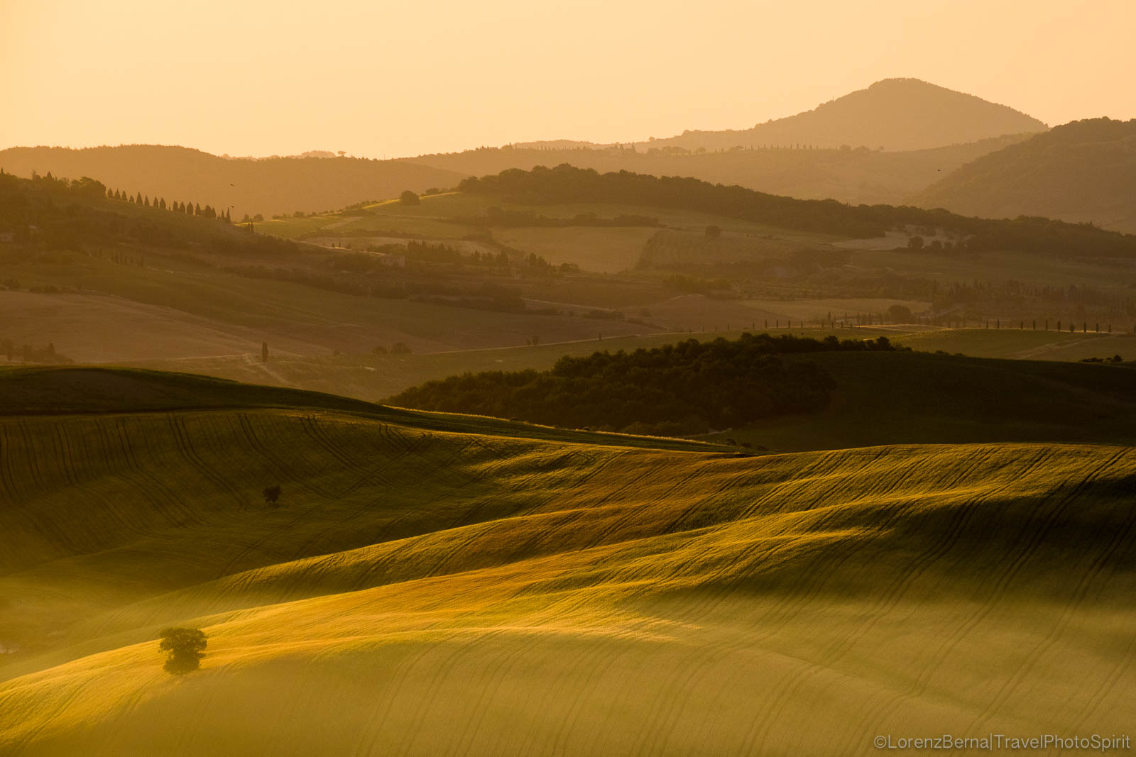 Sunrise on a gentle valley at Spring, Tuscany, Italy