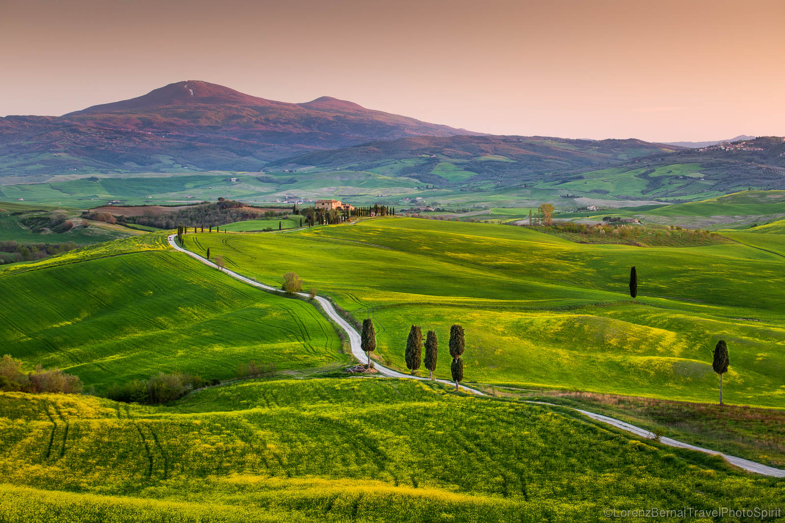 Sunset on the Val D'Orcia, with Monte Amiata in background, Tuscany, Italy.