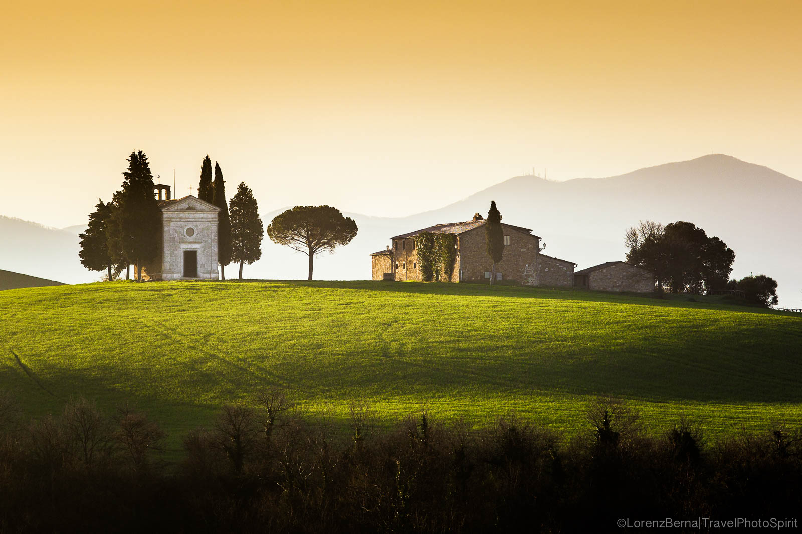 Vitaleta church at sunrise, Tuscany, Italy.