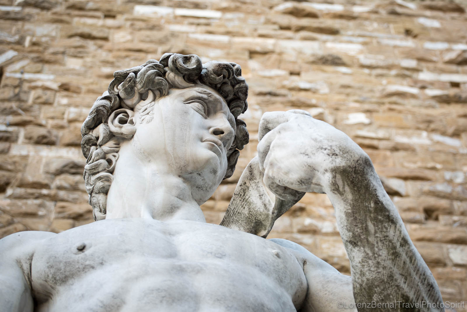 Detail of the David, marble sculpture from Michelangelo, located on the Piazza della SIgnoria in front of the Palazzo Vecchio, Florence, Tuscany, Italy.