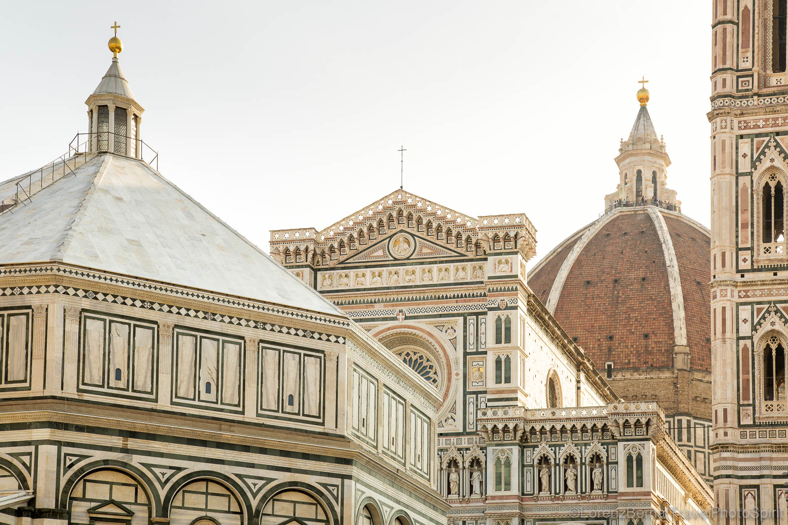 Santa Maria del Fiore Cathedral (Saint Mary of the Flower Cathedral) and the Battistero (Baptistery) in the Piazza del Duomo, Florence, Tuscany, Italy.