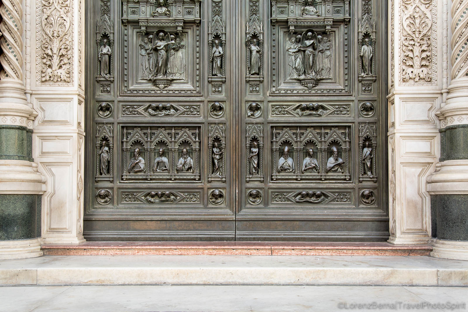 Details of the door of the Santa Maria del Fiore Cathedral, Florence, Tuscany, Italy.