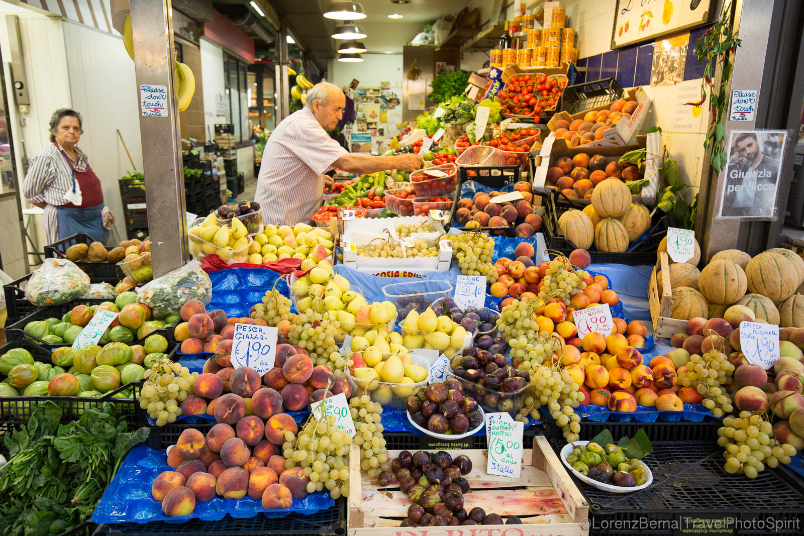 Fruit shop inside the Central Market, Florence, Tuscany, Italy.