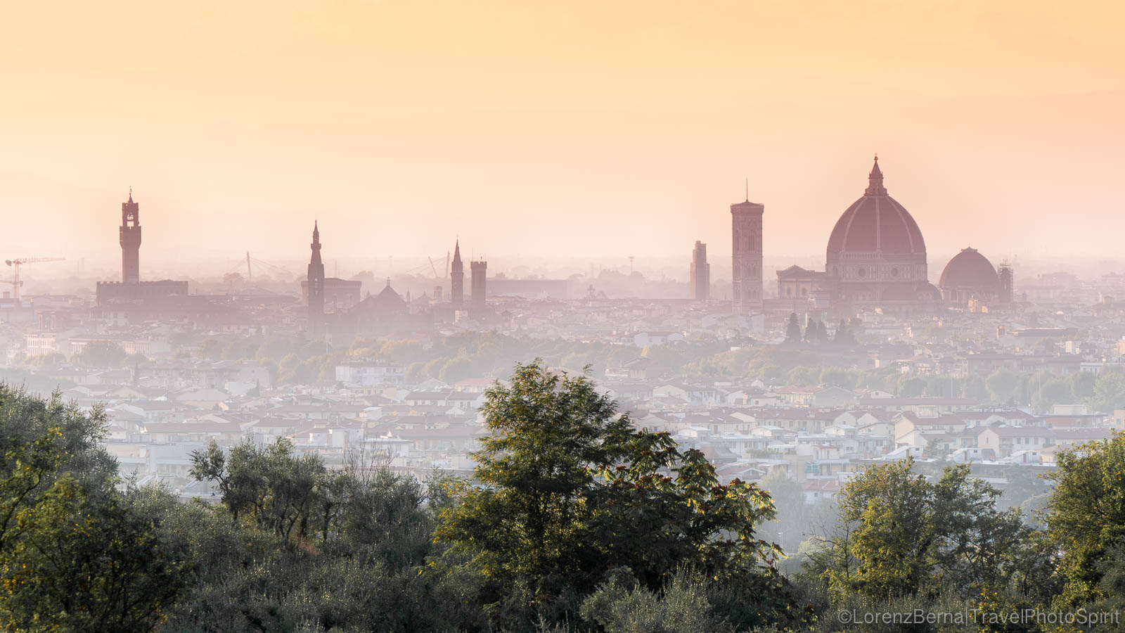 Florence skyline at sunset from one of the hills around the city - italy Travel Photography by Lorenz Berna.