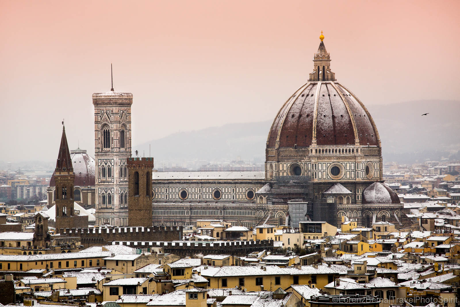 Florence under the snow : a winter morning view from the Piazzale Michelangelo - Italy Travel Photography by Lorenz Berna