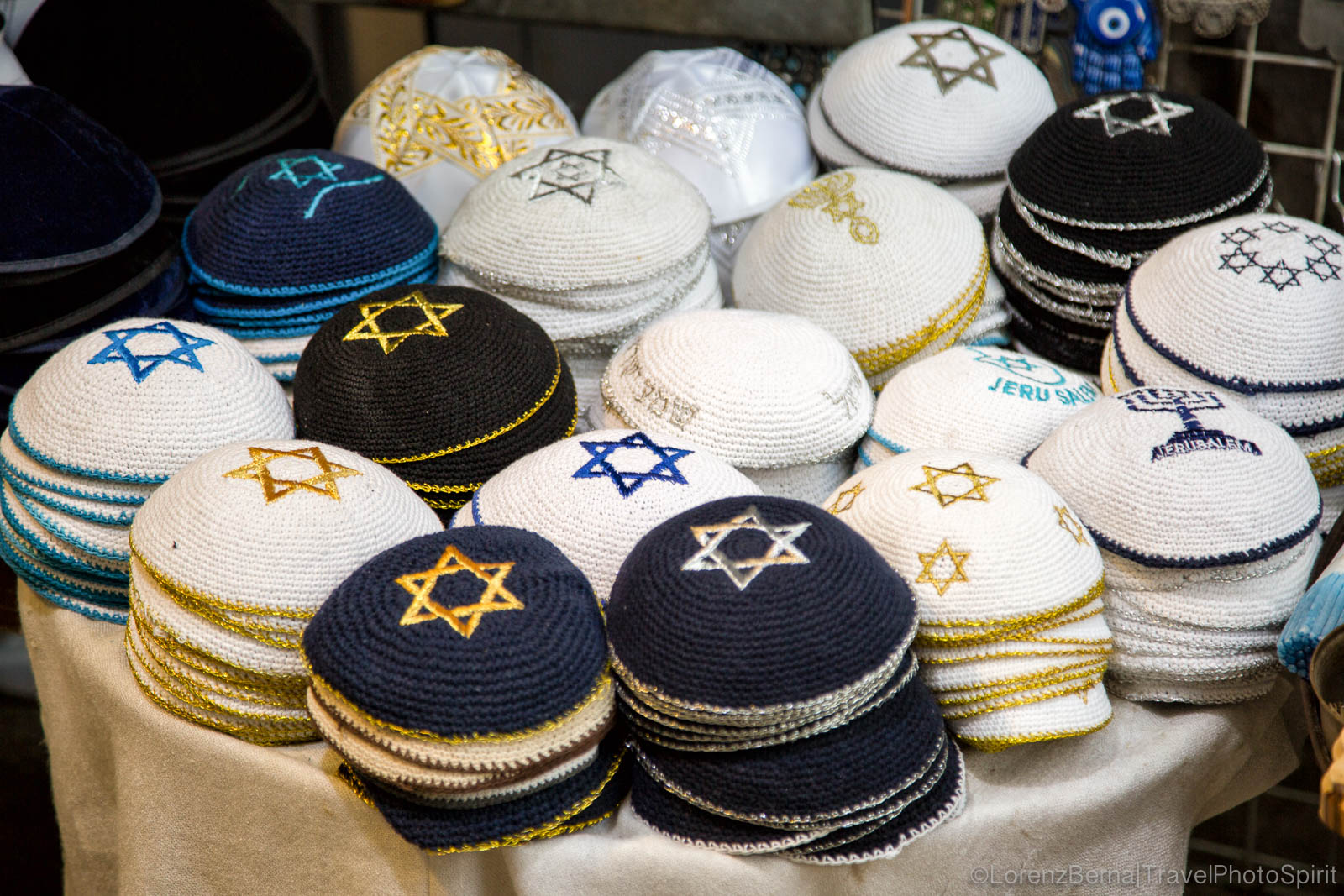 The Kippah, worn by the Jewish men when going to pray.