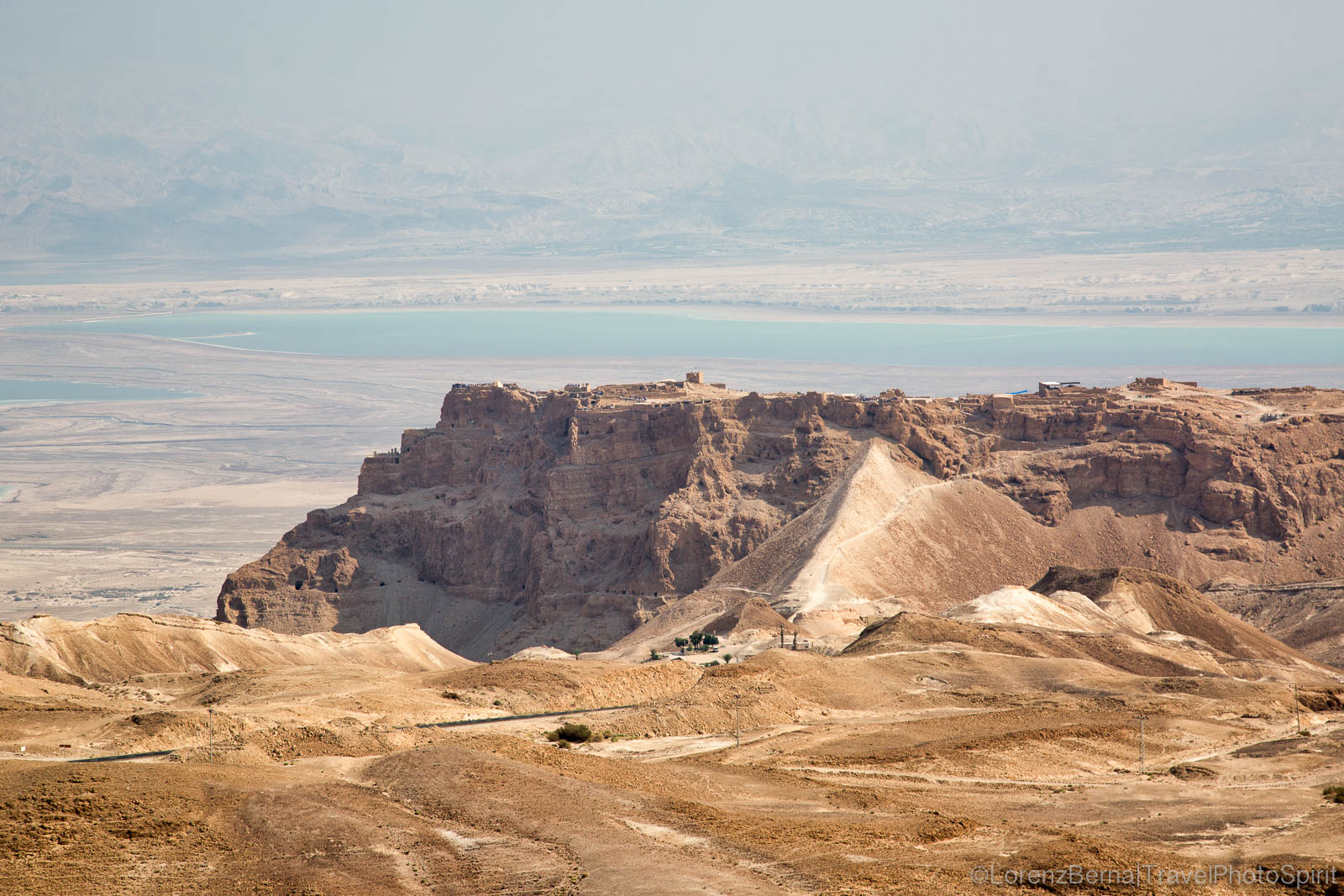 The impressive plateau where the fortress of Masada was built, dominating the whole valley and overlooking the Dead Sea, Judean Desert, Jerusalem.