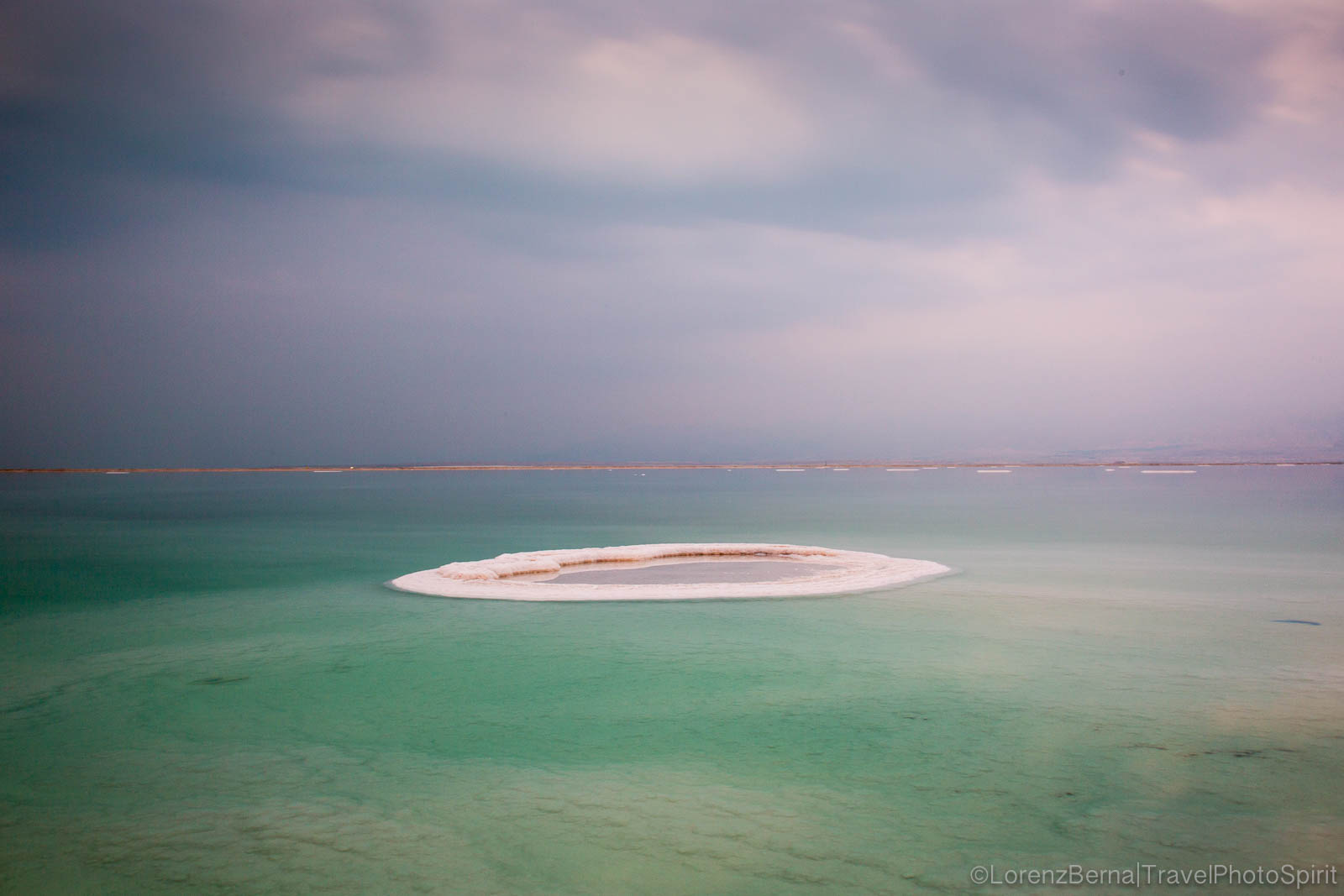 A salt island in the middle of the Dead Sea, Israel.