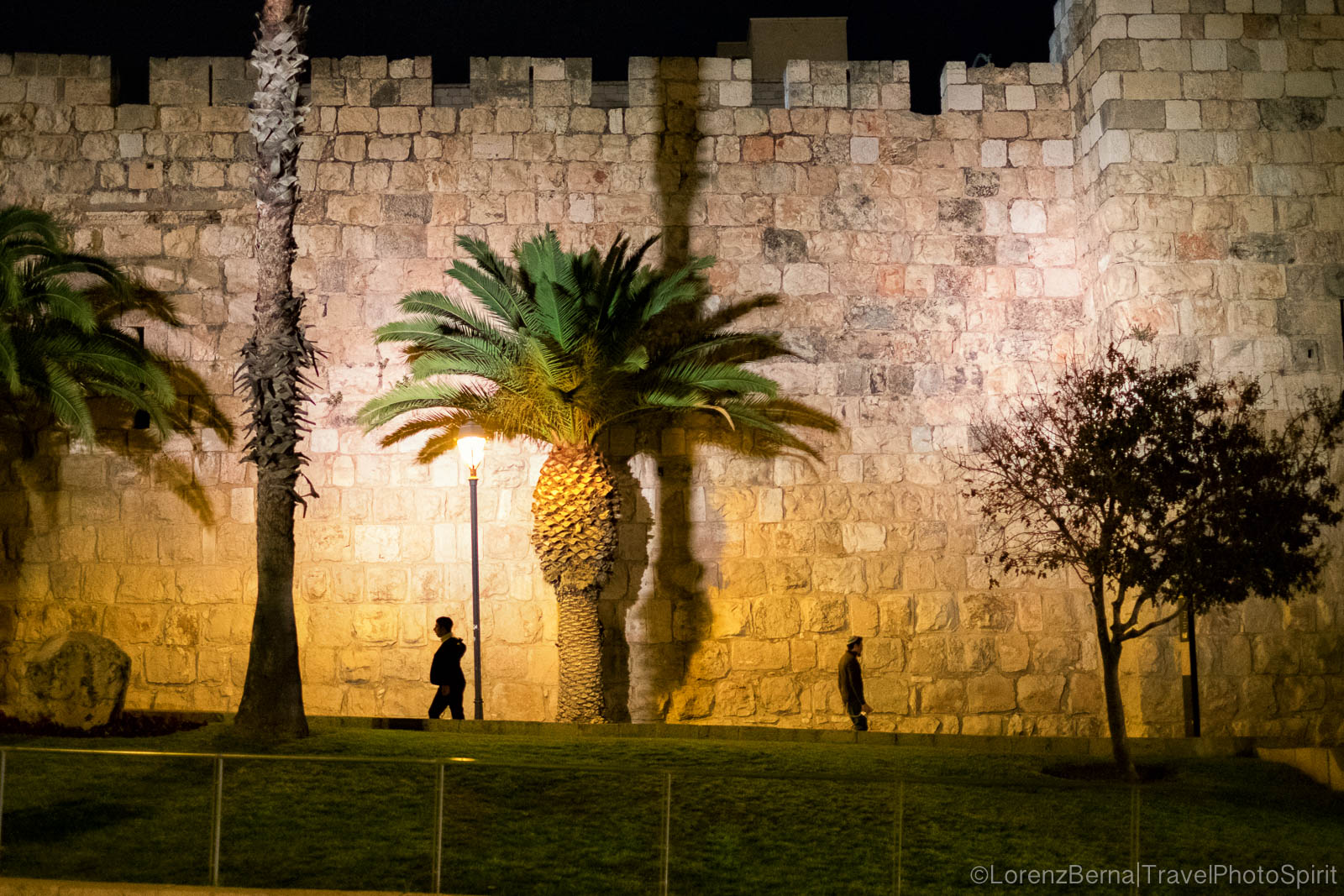 The outside walls of the Old Citadel, in the evening lights, Jerusalem, Israel.