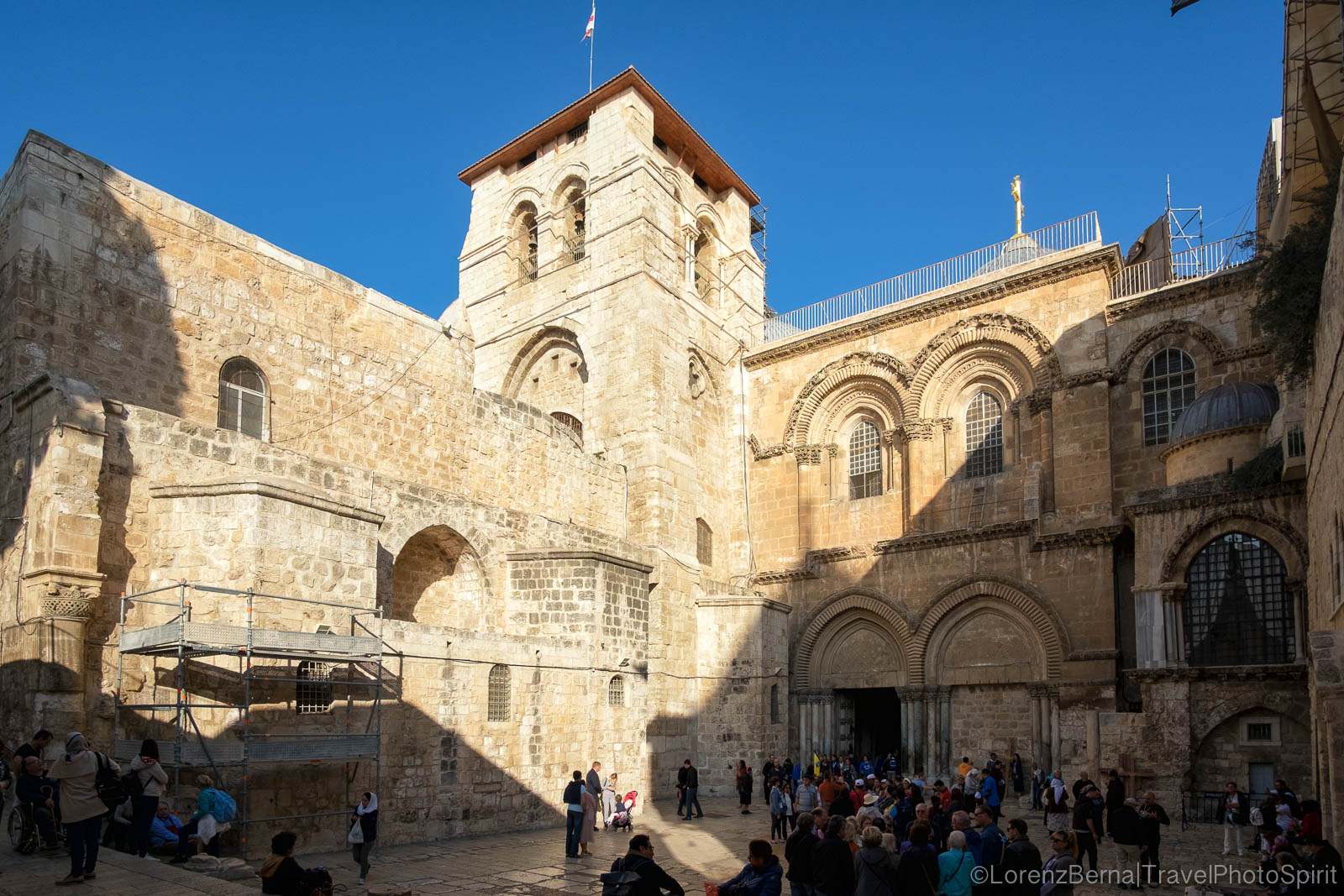 The front part of the Holy Sepulcher in Jerusalem, Israel.