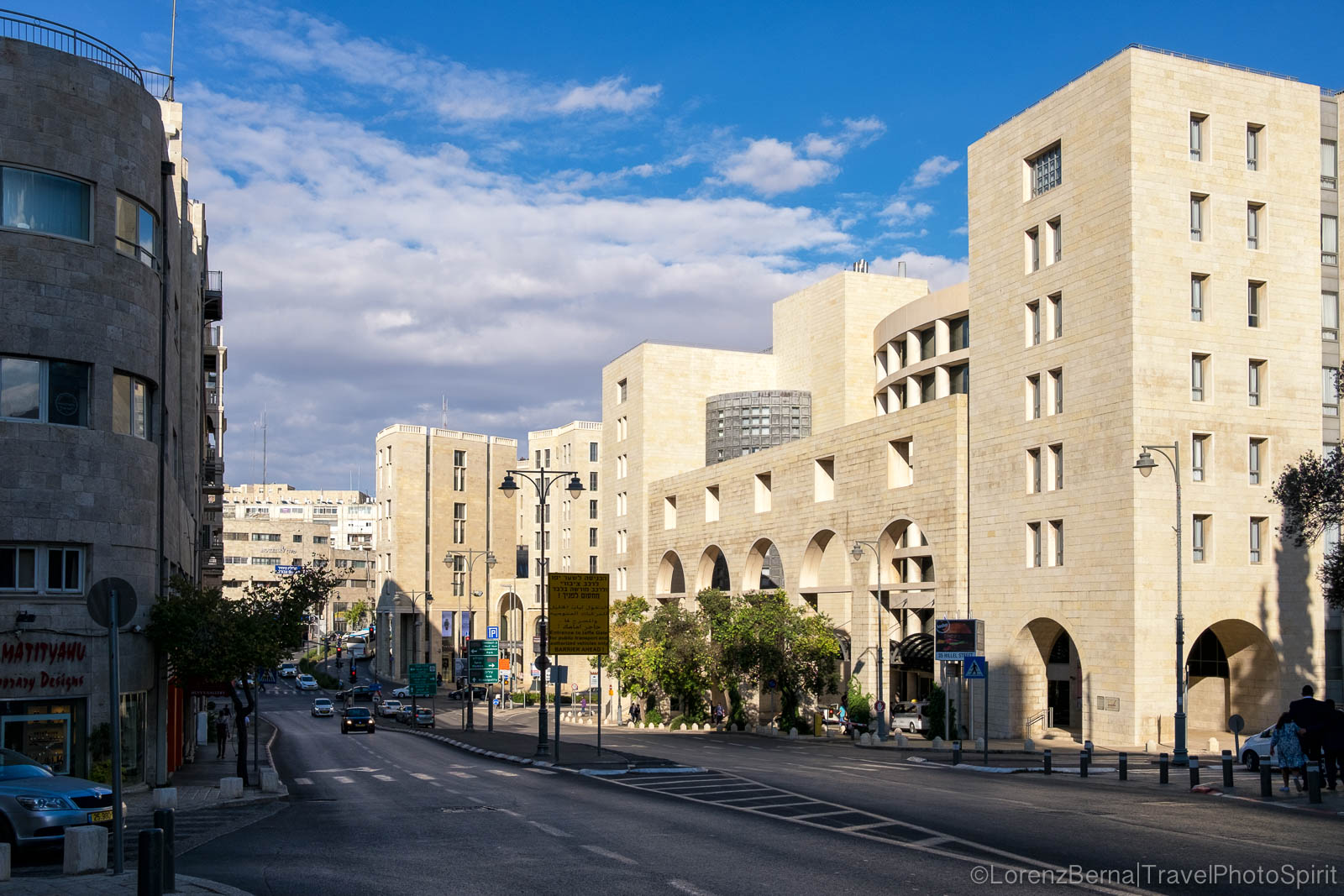 Street view of a modern part of Jerusalem city, Israel.