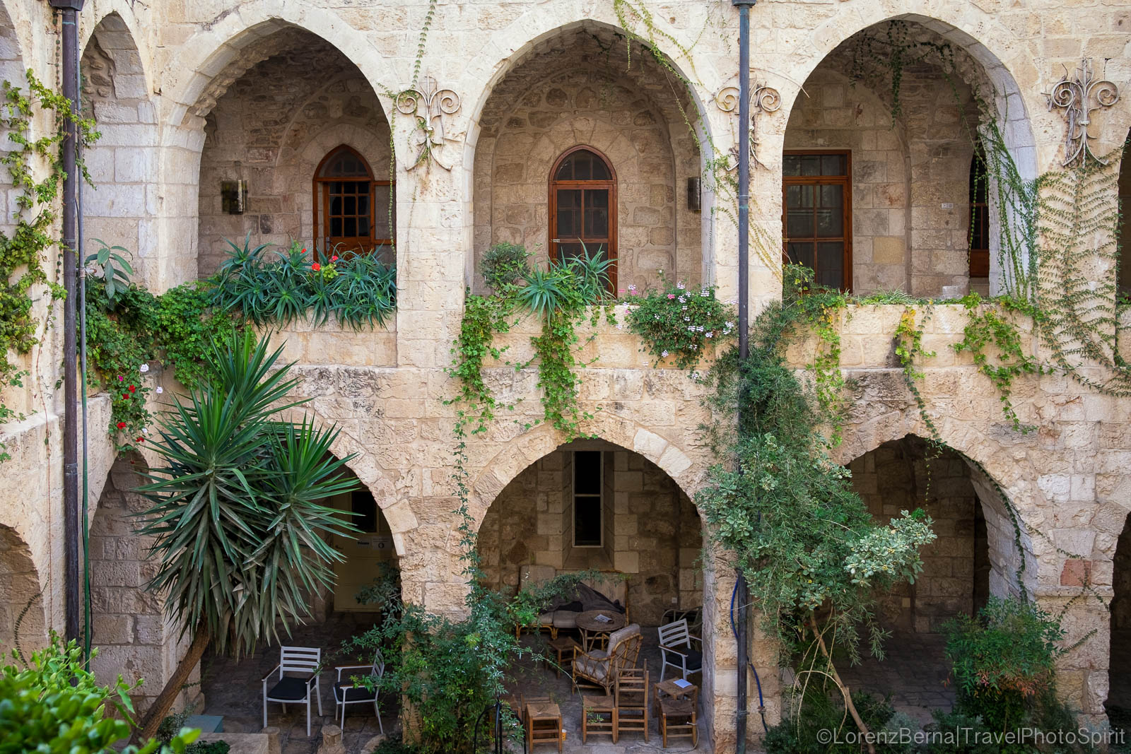 The inside patio of the Lutheran Church of the Redeemer, a protestant church located in the Old City, Jerusalem, Israel.