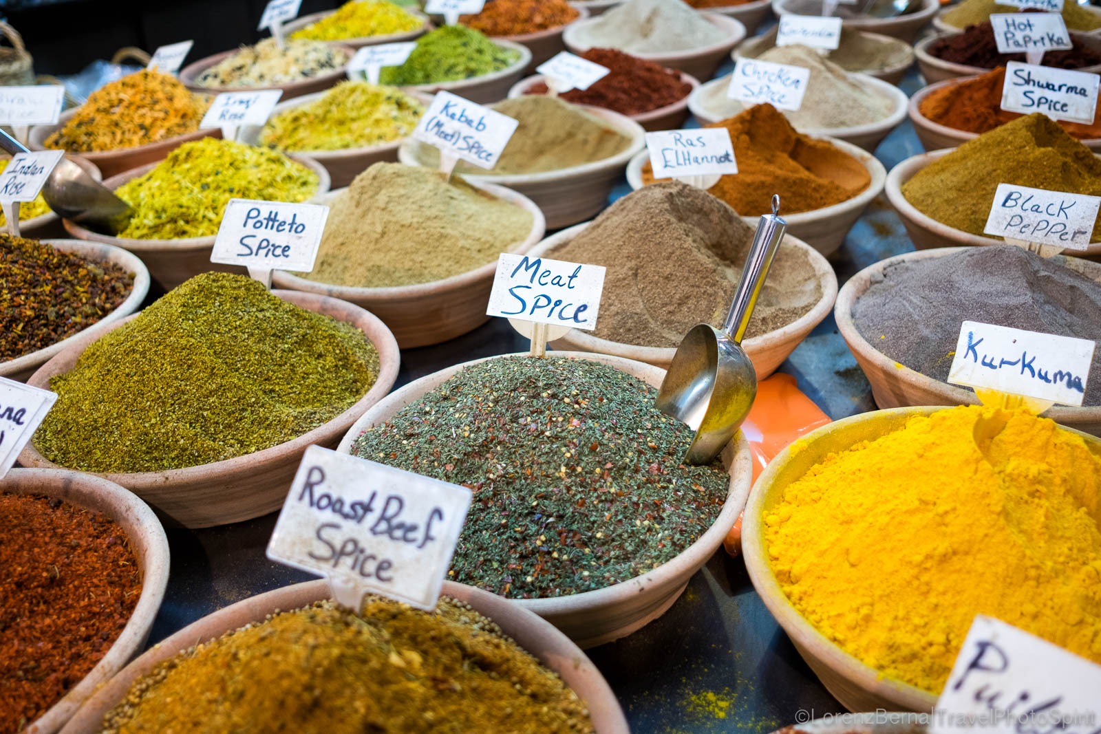 Spices in a local shop, Jerusalem, Israel.