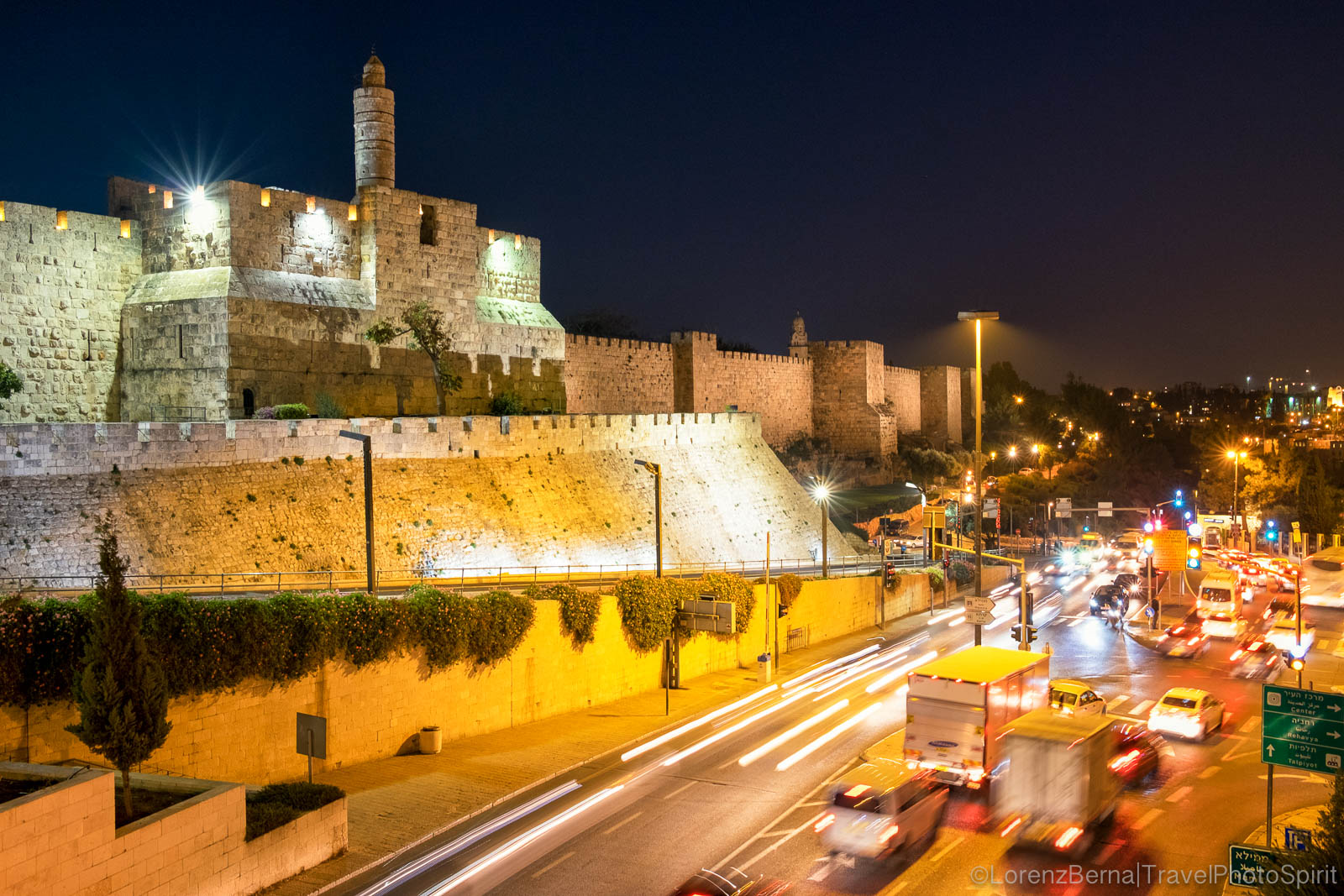 Jaffa Gate by night, Jerusalem, Israel.