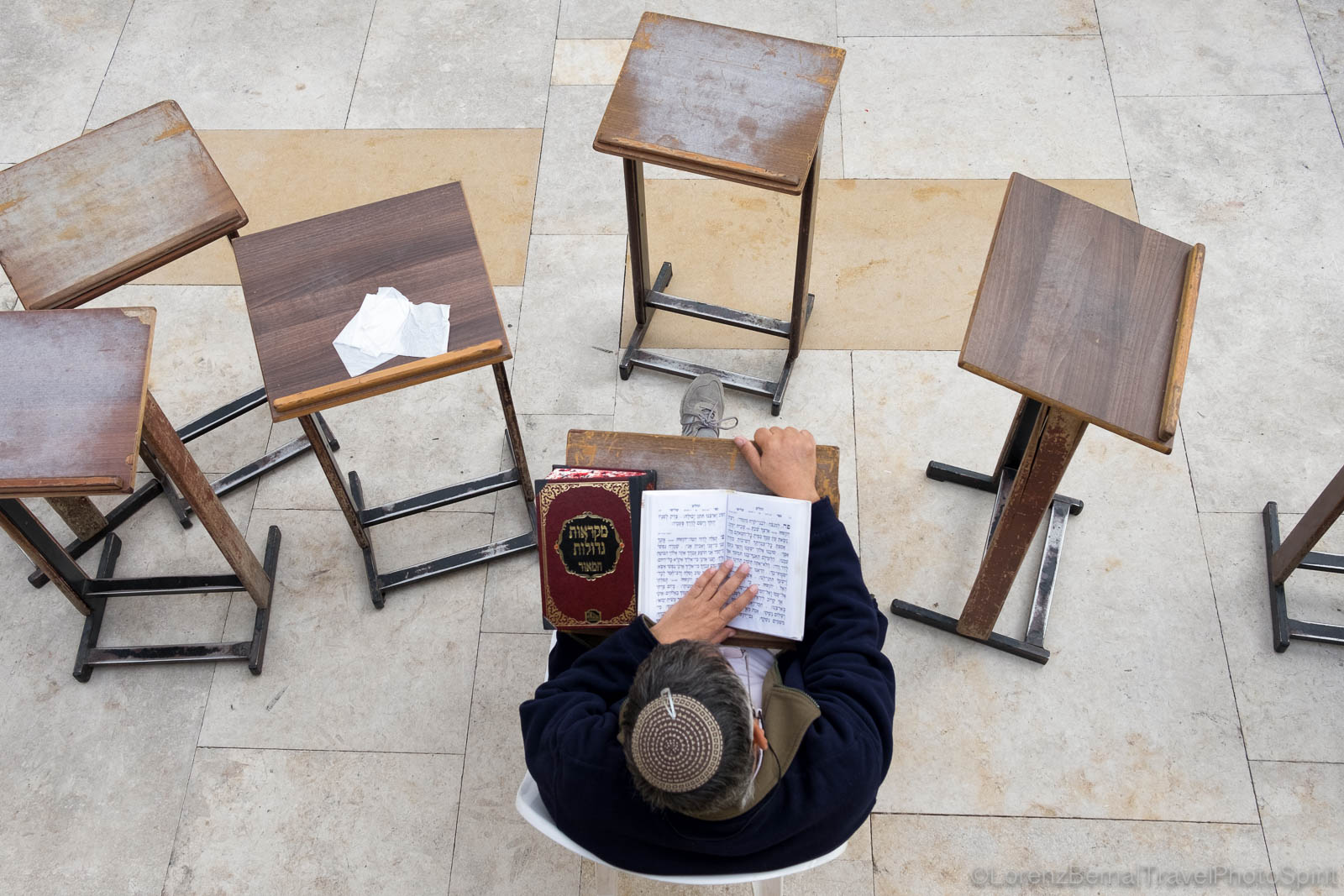 View from above of a jewish man studying the Torah, Jerusalem, Israel.