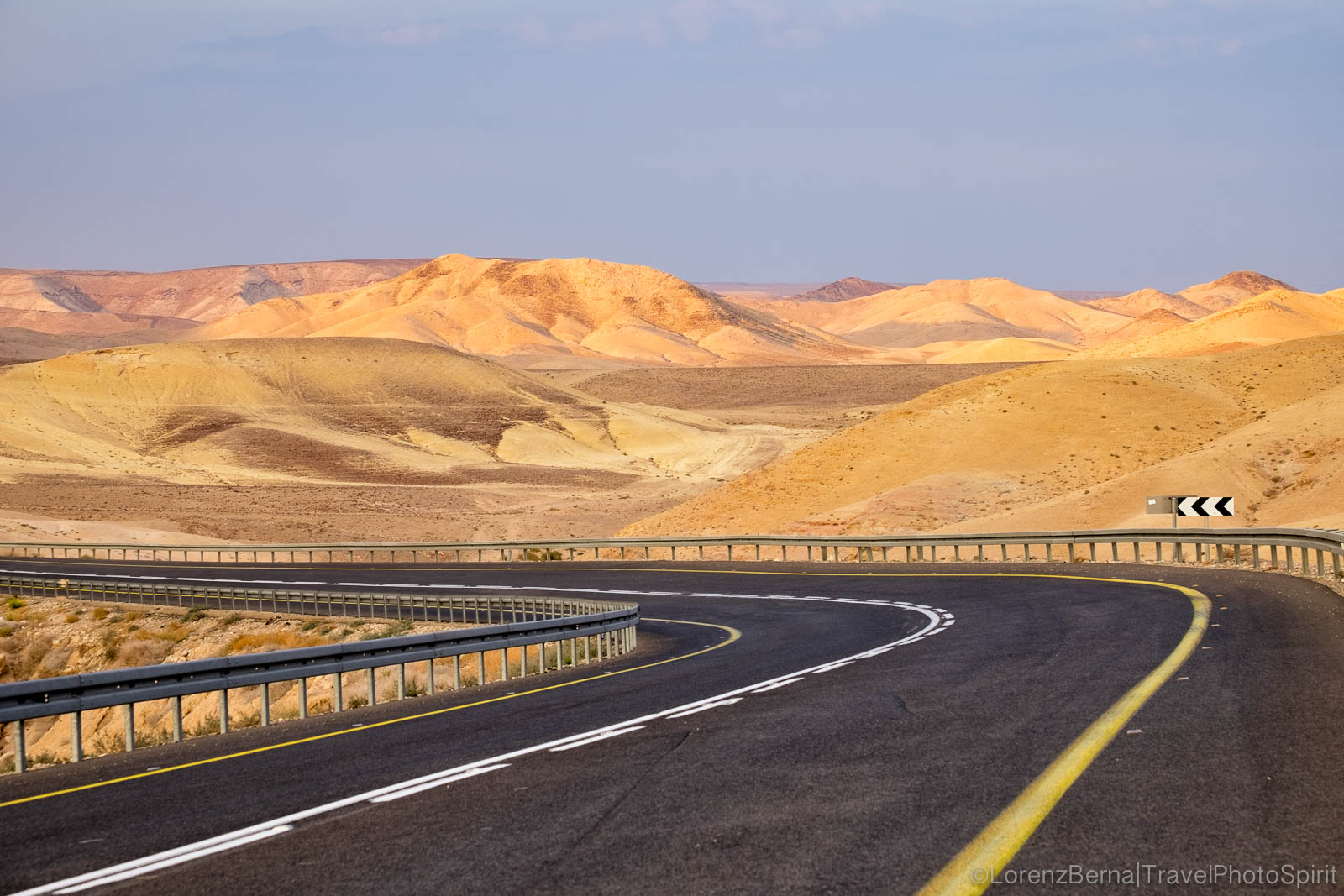 Modern roads crossing the ancient Judean desert, Israel.