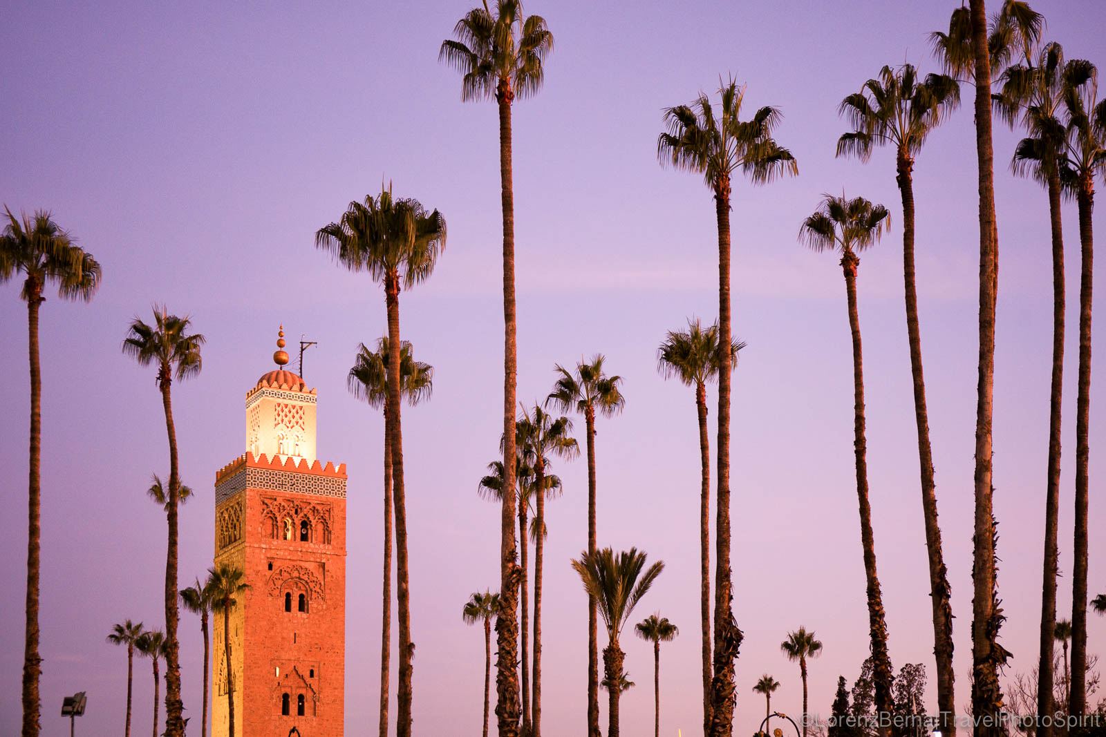 The minaret of the Koutoubia mosque in Marrakech at sunrise. Morocco Travel photography by Lorenz Berna