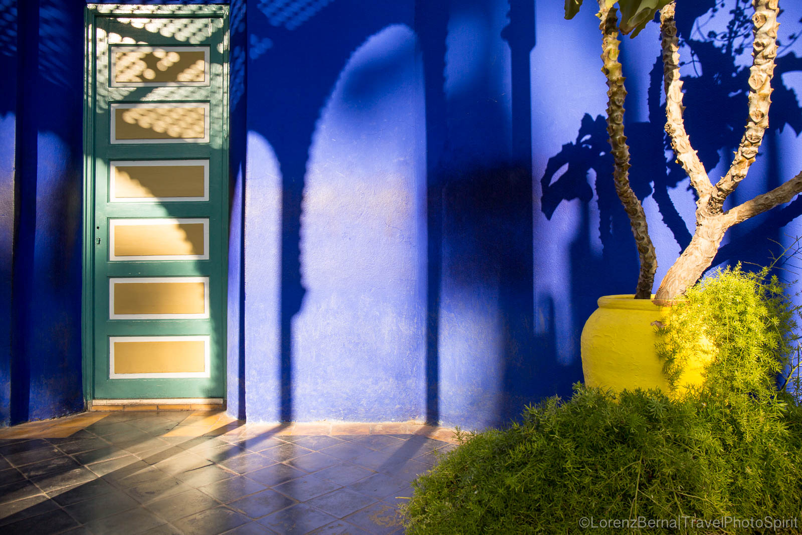 Curves, colors and shadows in the Majorelle Garden, the Yves Saint Laurent garden in Marrakesh.