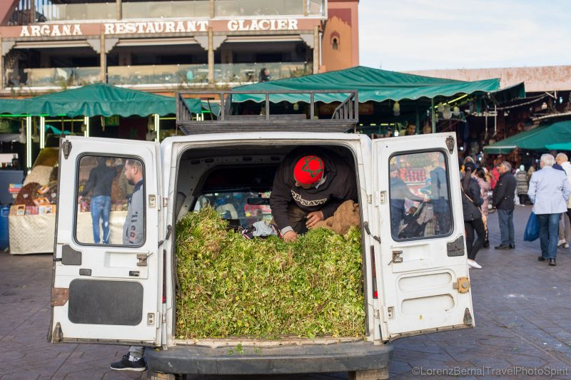 A man selling vegetable from his car on the Djemaa El Fna market of Marrakech, Morocco