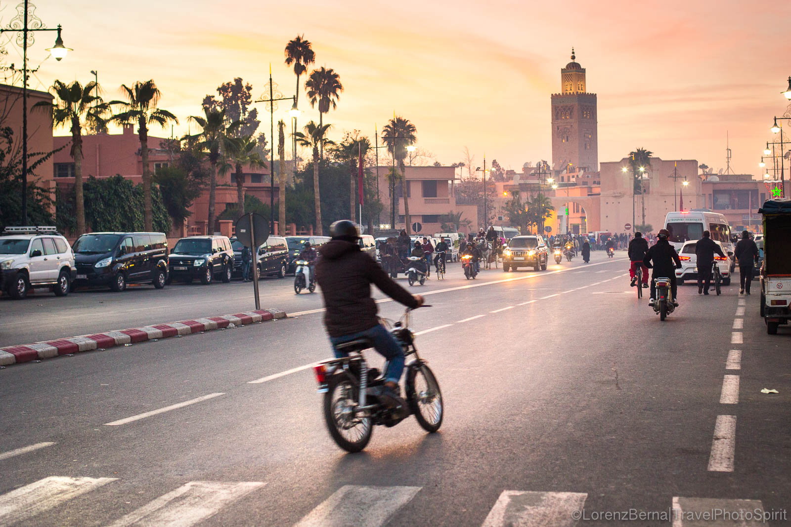Sunset colours on a street around the Koutoubia Mosque in Marrakech