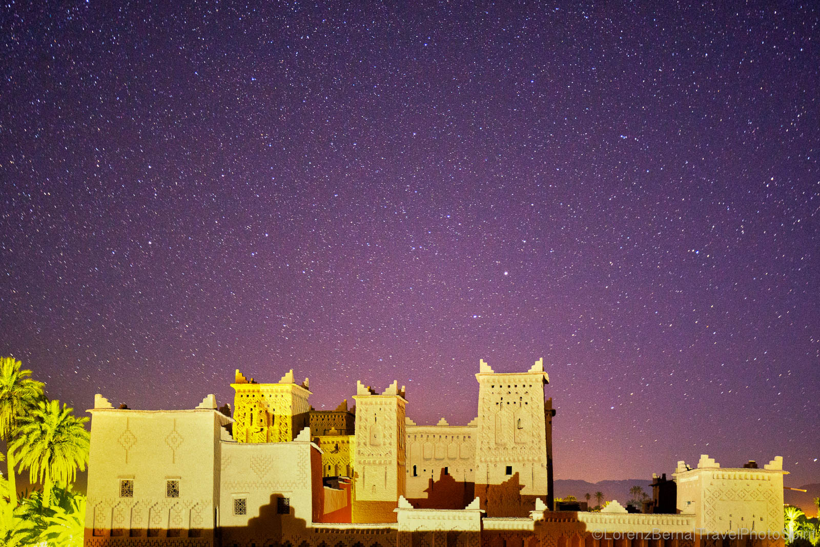 The Amerhidl Kasbah in Skoura, Morocco, under the stars.