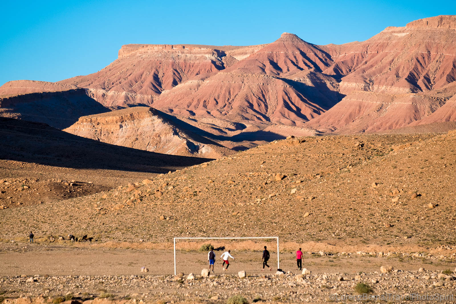 Football on the mountain fields, Morocco