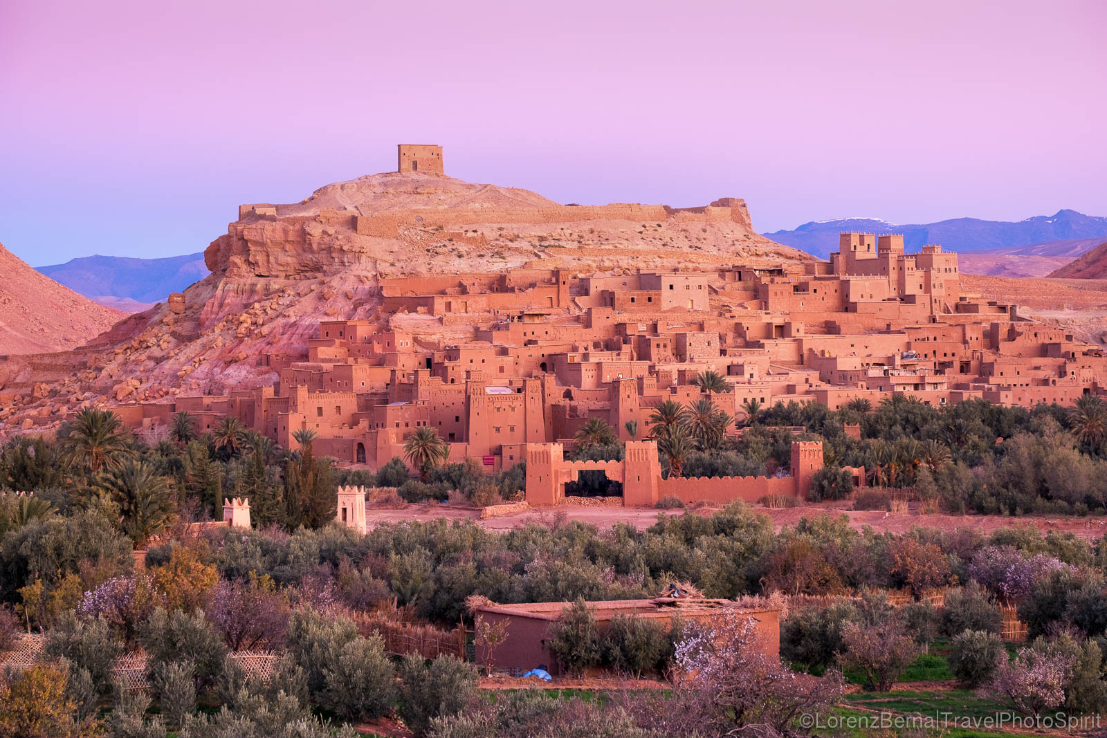 The fortified village of Aït Benhaddou in the High Atlas before sunrise.