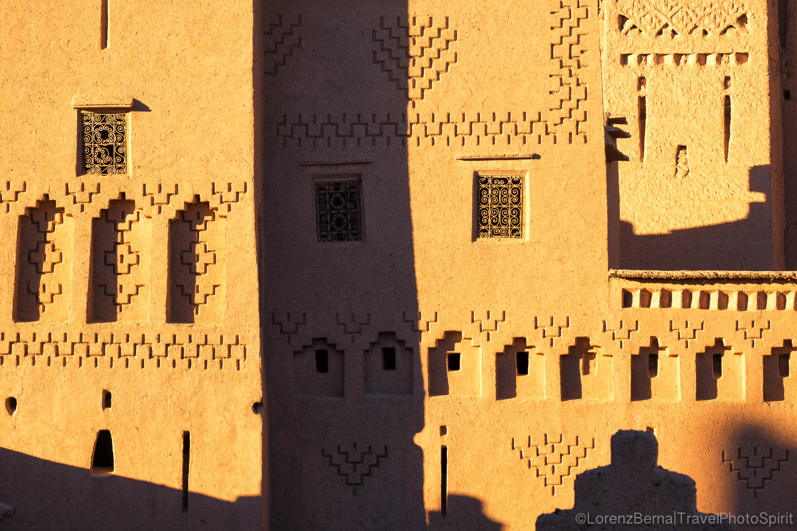 Detail of the Amerhidl Kasbah in Skoura, Morocco