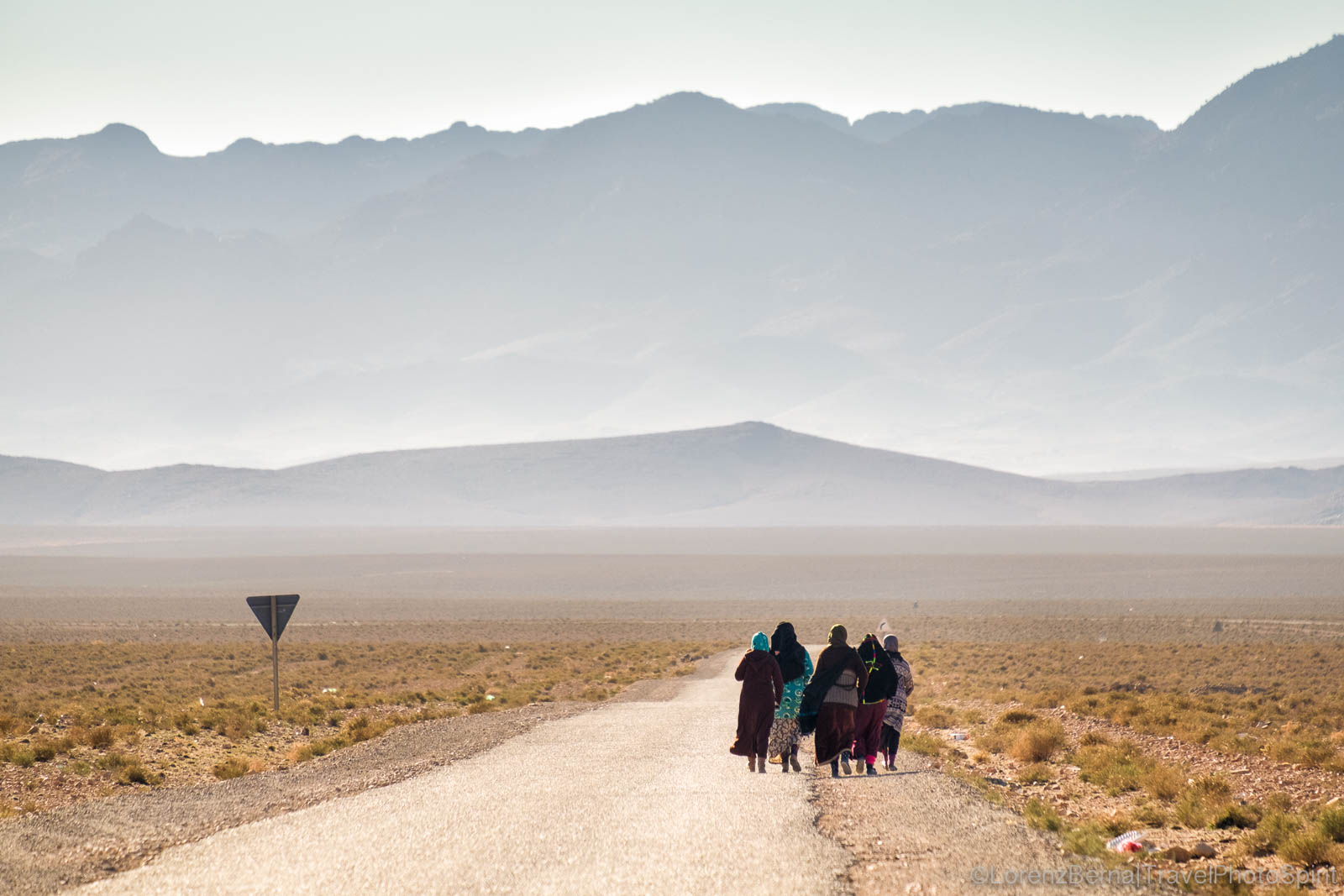 Group of women walking in the mountain valleys of the Anti-Atlas of Morocco