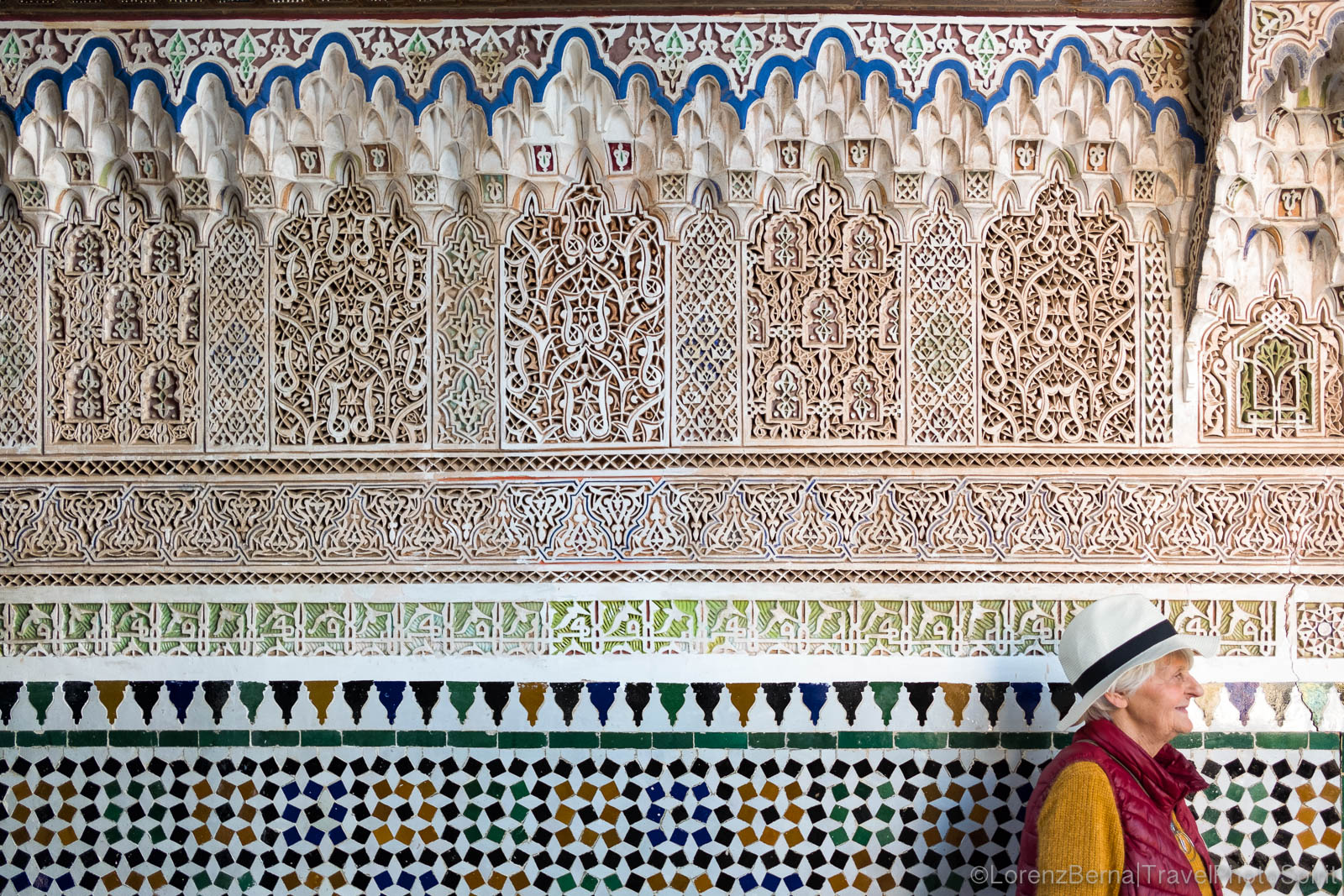 A finely worked wall inside the Bahia palace in Marrakech