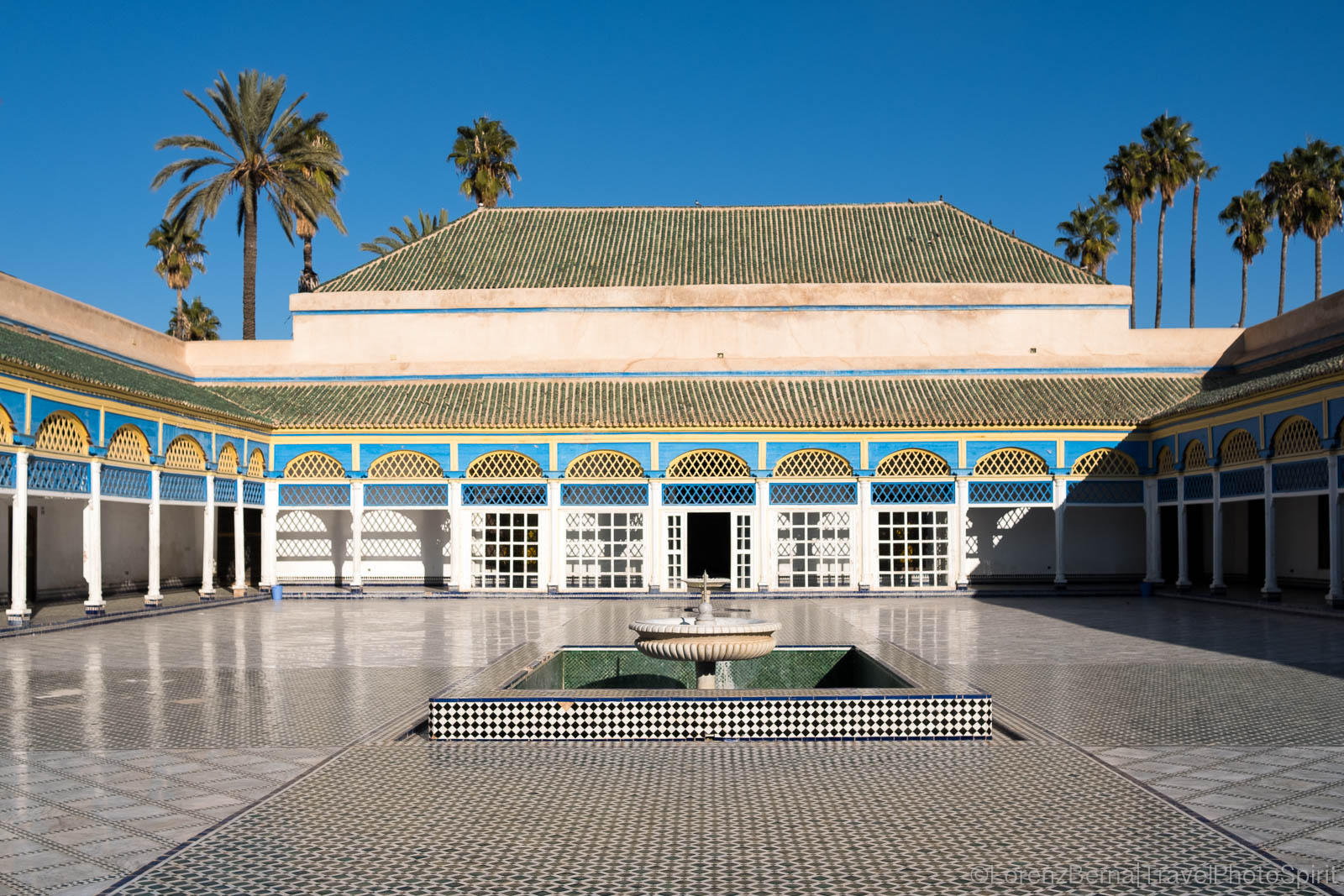 Inside court of the Bahia Palace of Marrakech.