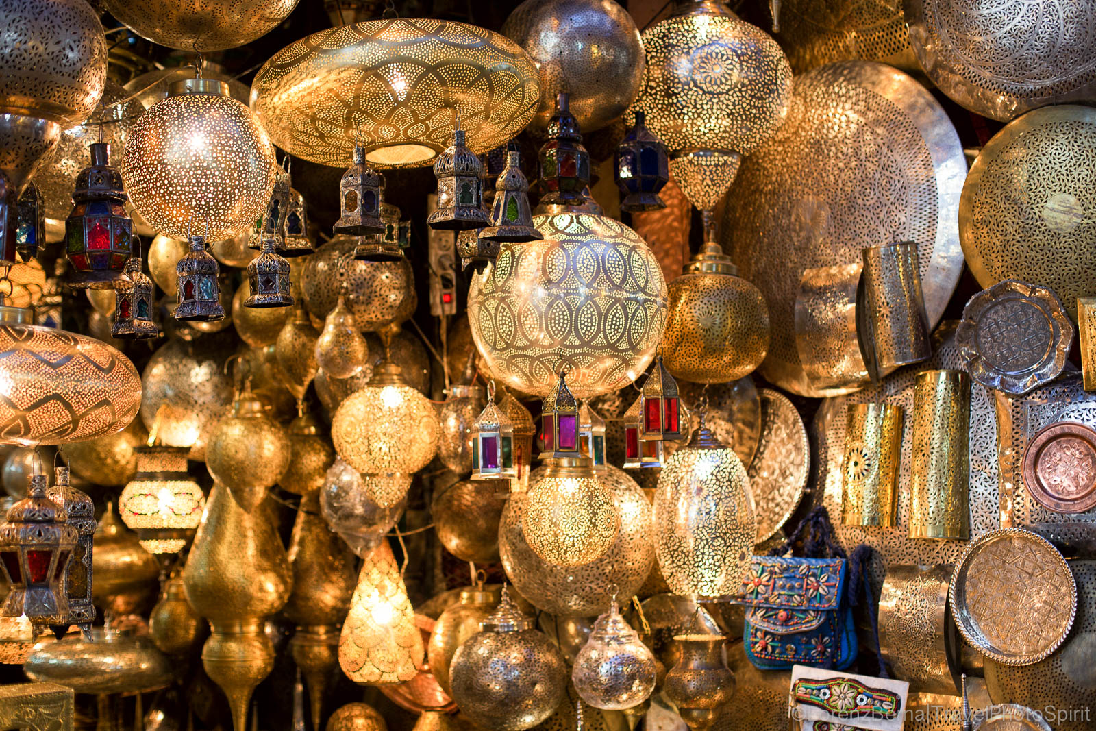 Moroccan handicraft objects found in the Medina of Marrakech, Morocco