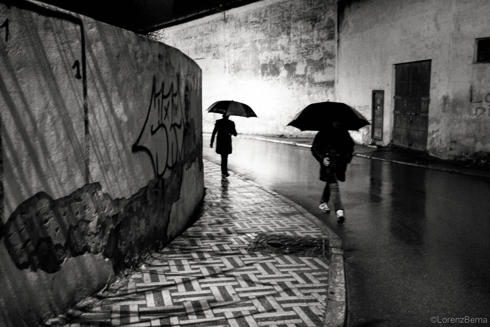 Fez street photography under the rain of a winter night.