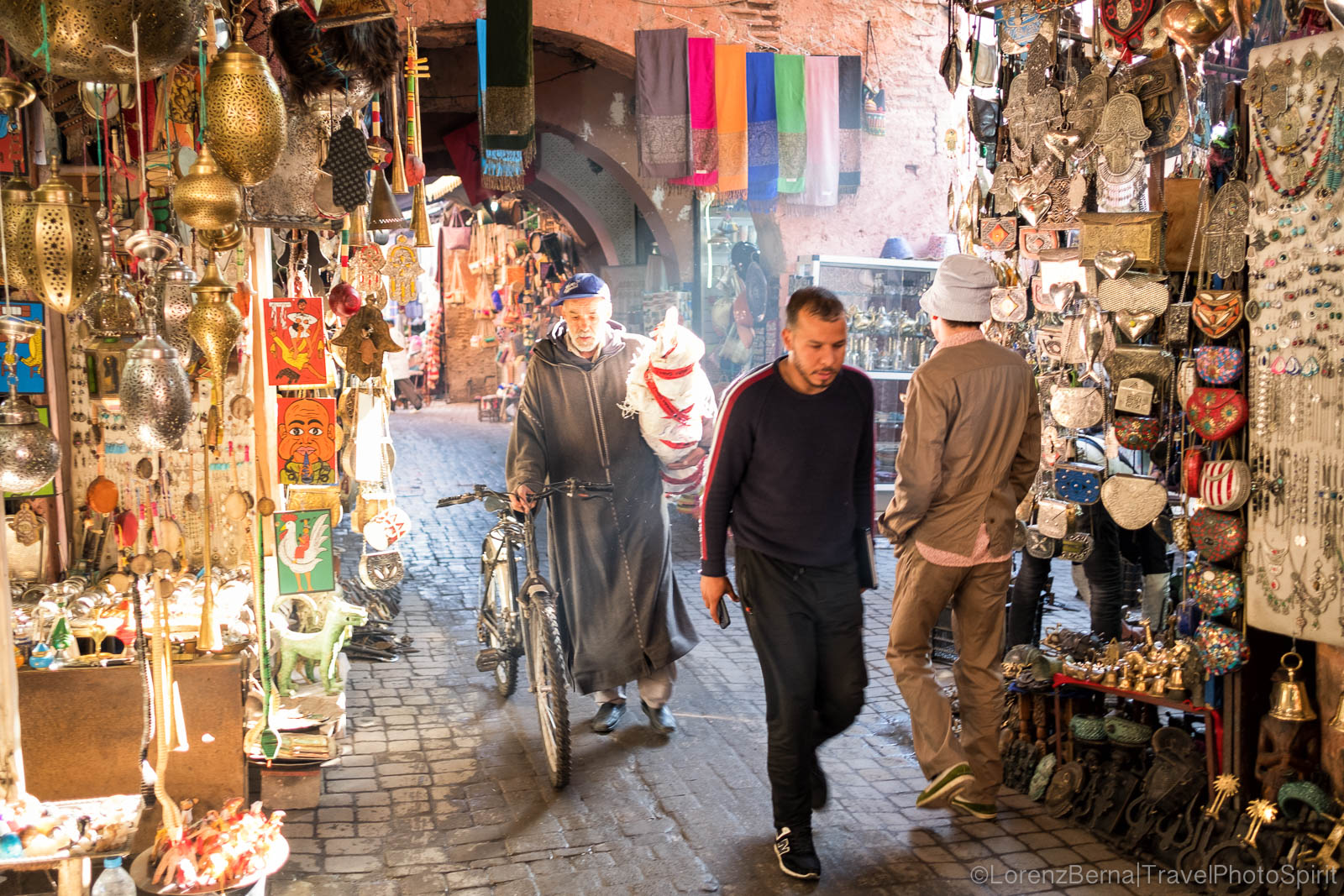 Street life in a Marrakech souk.