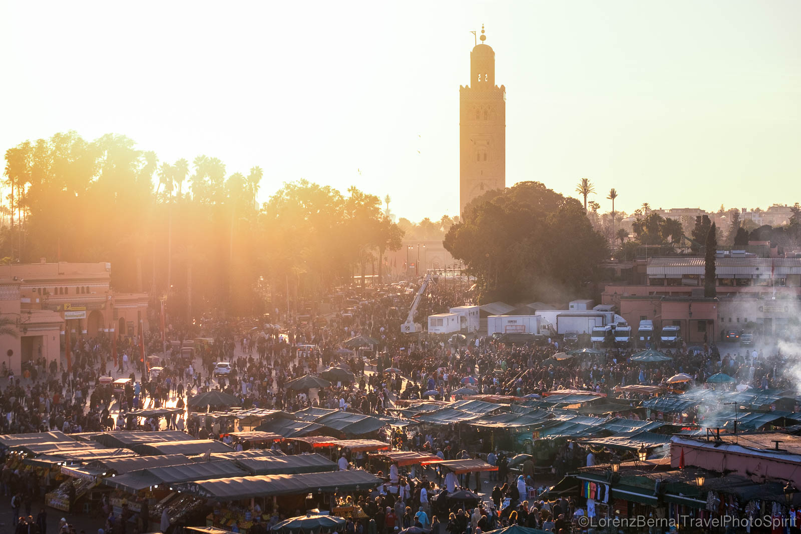 The Djemaa el fna square at sunset, dominated by the minaret of the Koutoubia Mosque in Marrakech.