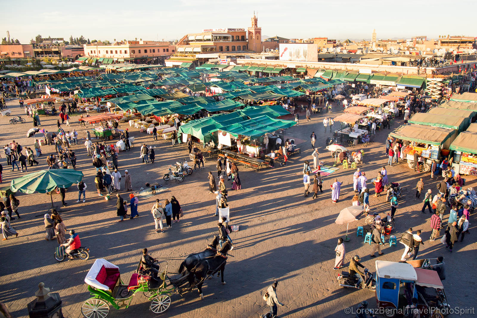 The Djemaa el fna square of Matrrakech at sunset