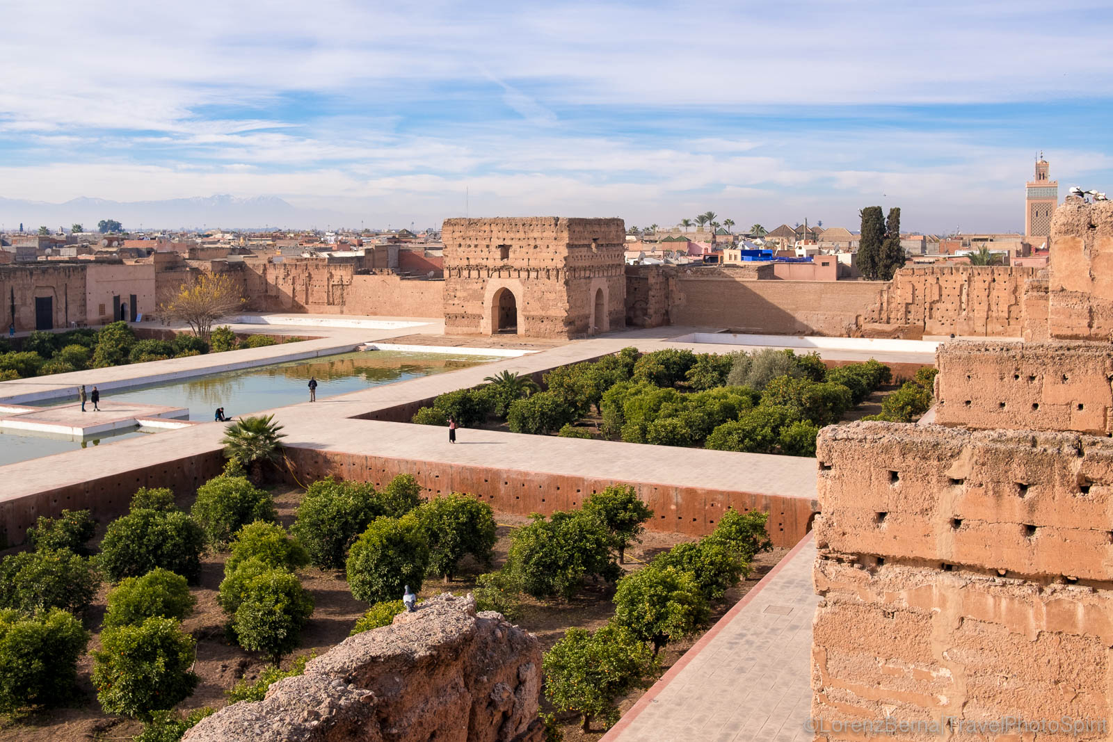 The El Badi palace in Marrakech seen from above