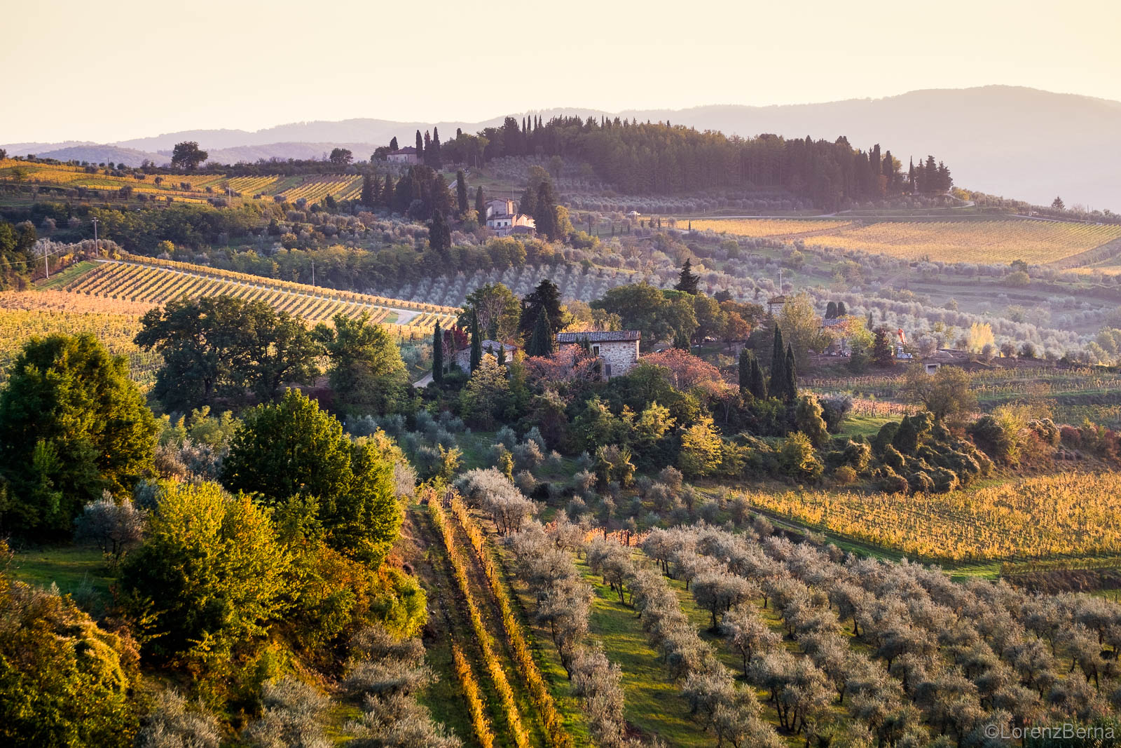 Chianti photos : Chianti multi coloured valley under the autumnal Light - A Chianti landscape photography by Lorenz Berna